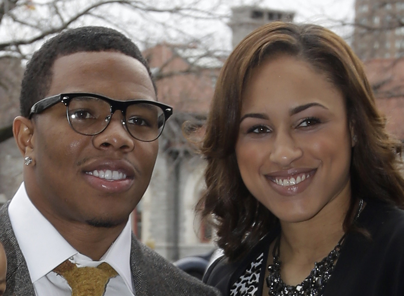 In this March 11, 2013, file photo, Baltimore Ravens running back Ray Rice, left, stands with Janay Palmer in Baltimore as they arrive for a screening of a new film released on DVD that chronicles the team's championship NFL football season. Rice is due in a New Jersey courtroom Thursday May 1, 2014 to face aggravated assault charges stemming from an incident with his then-girlfriend in an Atlantic City casino elevator