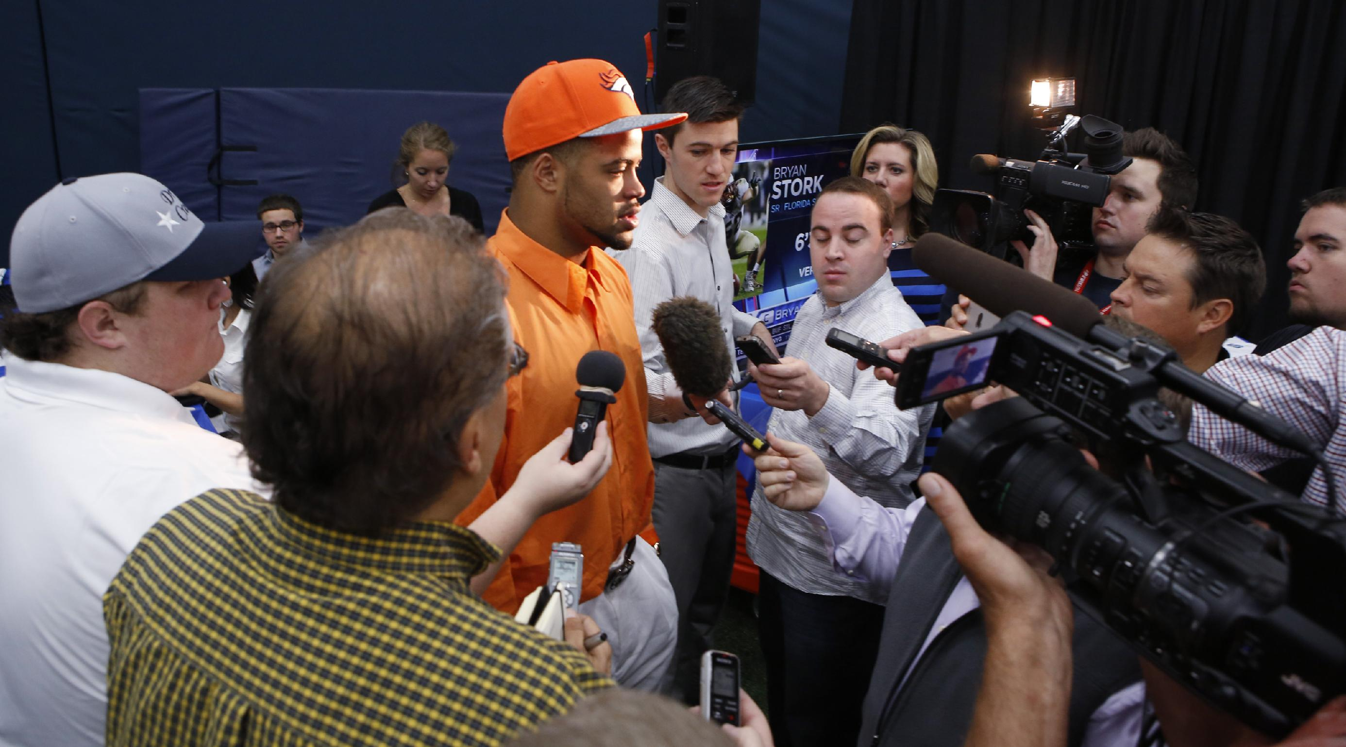 Denver Broncos second round draft pick Indiana wide receiver Cody Latimer responds to questions from the media at the NFL football teams headquarters in Englewood, Colo., on Saturday, May 10, 2014