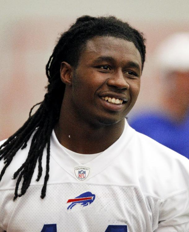 Buffalo Bills first round draft pick Sammy Watkins smiles after taking part in drills during an NFL football rookie camp at the team's facility in Orchard Park, N.Y., Saturday, May 17, 2014