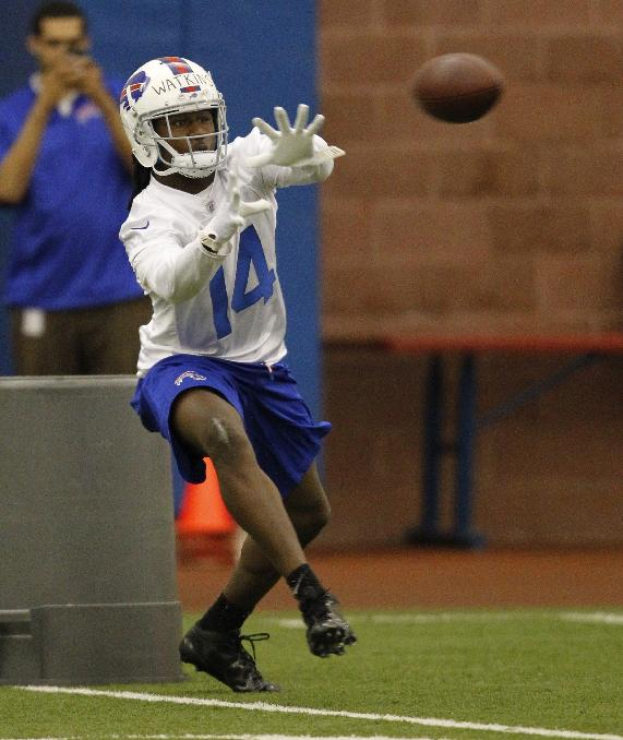 Buffalo Bills first-round draft pick Sammy Watkins takes part in drills during NFL football rookie camp at the team's facility in Orchard Park, N.Y., Saturday, May 17, 2014