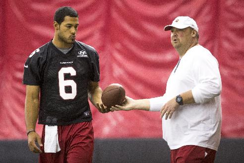 Arizona Cardinals quarterback Logan Thomas gets the ball from quarterbacks coach Freddie Kitchens during the NFL football team's rookie minicamp, Friday, May 23, 2014, in Tempe, Ariz
