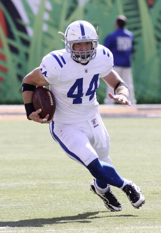 Indianapolis Colts tight end Dallas Clark in action against the Cincinnati Bengals in the second half of an NFL football game, Sunday, Oct. 16, 2011, in Cincinnati