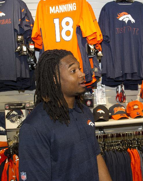 Denver Broncos rookie Bradley Roby is shown in the gift shop, during the 2014 NFL Rookie Symposium at the Pro Football Hall of Fame in Canton, Ohio, Saturday, June 28, 2014