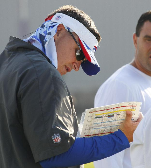 Buffalo Bills head coach Doug Marrone looks at a play card during NFL football training camp in Pittsford, N.Y., Tuesday, July 22, 2014