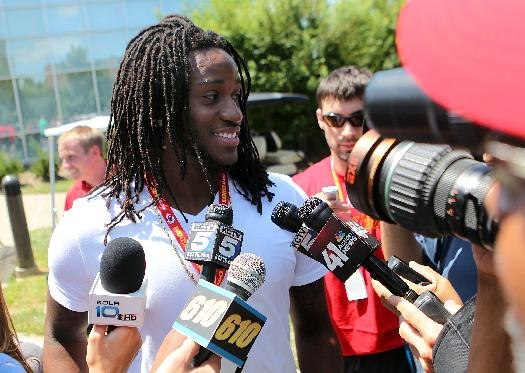 Kansas City Chiefs wide receiver Junior Hemingway speaks with members of the media before NFL football training camp on Wednesday, July 23, 2014, in St. Joeph, Mo