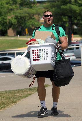 Kansas City Chiefs offensive lineman Eric Kush moves in before NFL football training camp on Wednesday, July 23, 2014, in St. Joeph, Mo