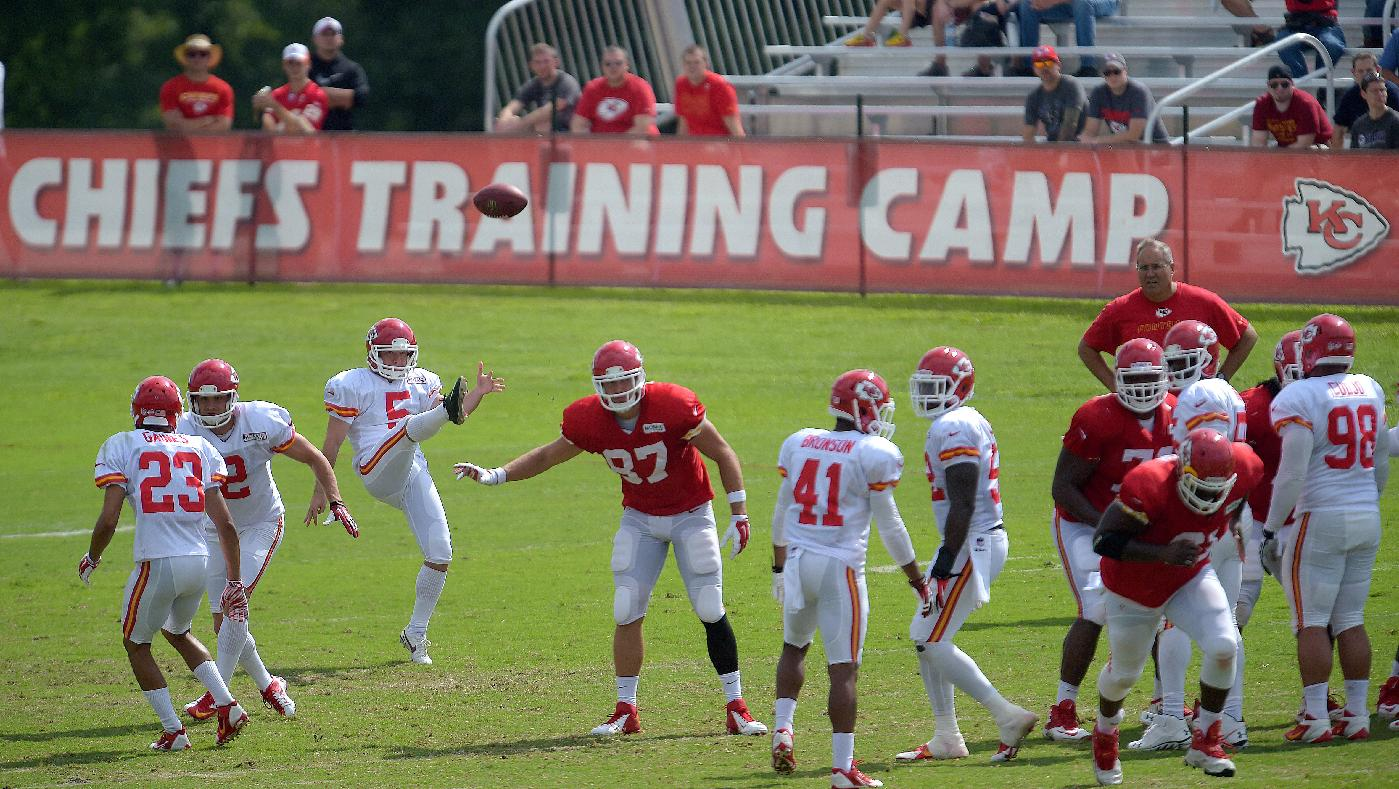 Kansas City Chiefs Cairo  Santos (5) punts during a special teams drill during practice Monday morning, Aug. 11, 2014, on the Missouri Western State University campus in St. Joseph. Mo