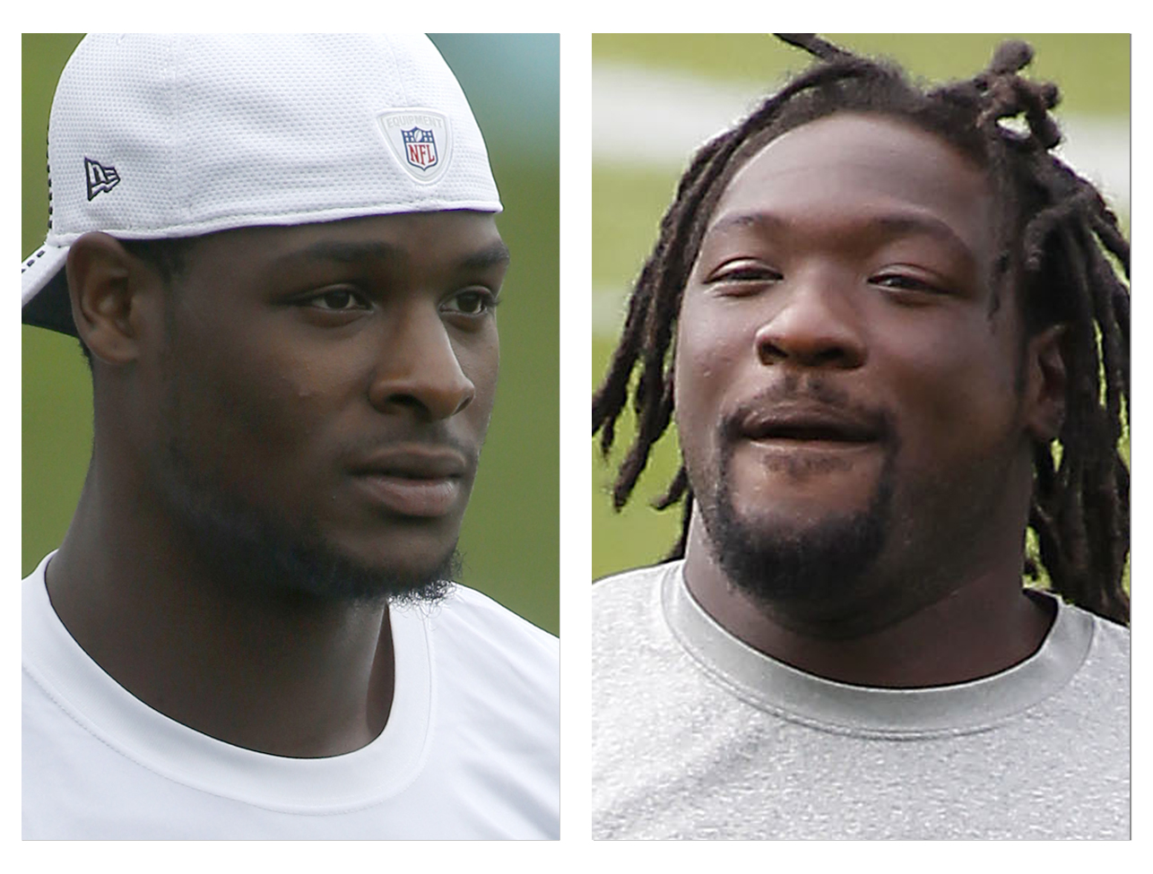 From left are Pittsburgh Steelers running backs Le'Veon Bell, in a July 30, 2014, file photo, and Steelers' LeGarrrette Blount, in a Sept. 10, 2013, file photo, when he was with the New England Patriots. Steelers running backs Bell and Blount will be charged with marijuana possession following a traffic stop Wednesday afternoon, Aug. 20, 2014, near Pittsburgh. Ross Township detective Brian Kohlhepp said traffic officer Sean Stafiej pulled over a Camaro operated by Bell around 1:30 p.m. after Stafiej, who was on a motorcycle, noticed a strong odor of marijuana coming from the vehicle. Stafiej found a 20 gram bag of marijuana inside the car. Bell, Blount and a female passenger all claimed ownership of the marijuana according to police