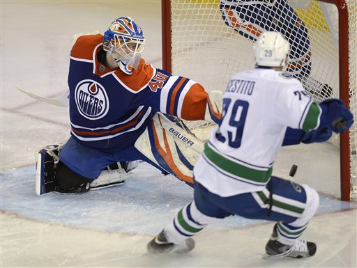 Edmonton Oilers goalie Devan Dubnyk watches the puck score from the Vancouver Canucks' Tom Sestito, 29, during third period NHL hockey action in Edmonton, on Saturday, April 27, 2013. 
