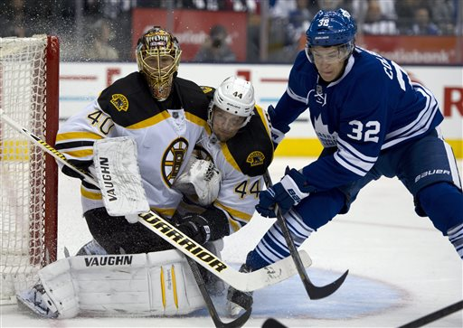Toronto Maple Leafs Joe Colbourne, right, drives Boston Bruins defenceman Dennis Seidenberg (44) into goaltender Tuukka Rask during second period first round NHL playoff action in Toronto on Sunday May 12, 2013