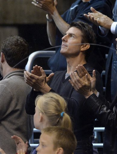 Actor Tom Cruise watches the Los Angeles Kings play the San Jose Sharks  in Game 5 of the Western Conference semifinals in the NHL hockey Stanley Cup playoffs, Thursday, May 23, 2013, in Los Angeles