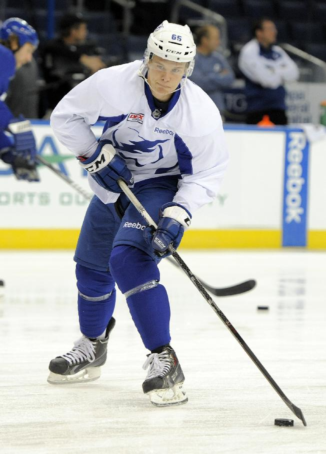 Tampa Bay Lightning center Vladislav Namestnikov, from Russia, controls the puck during a workout at NHL hockey camp Thursday, Sept. 12, 2013, in Tampa, Fla