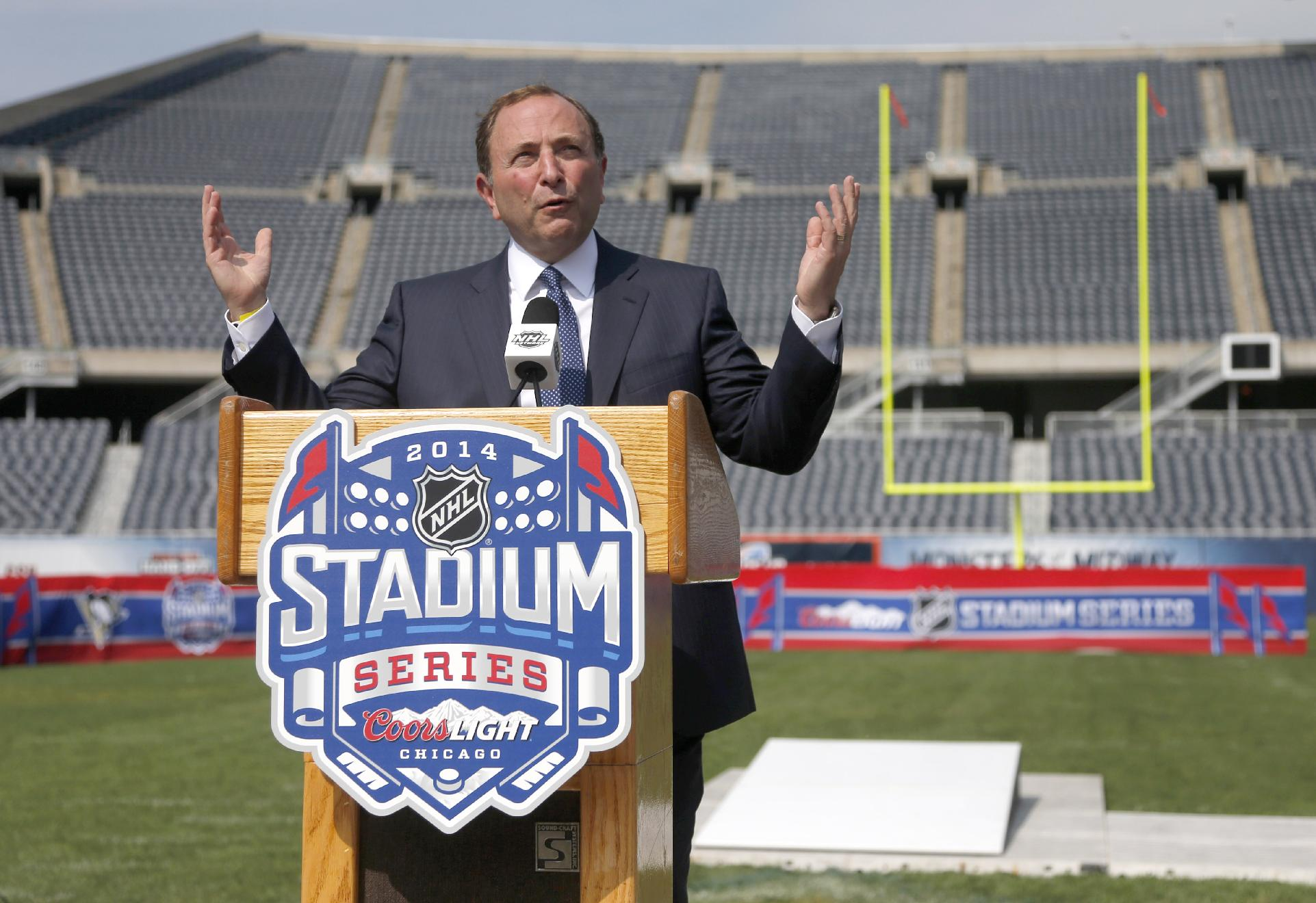 NHL Commissioner Gary Bettman talks about the Stadium Series hockey game between the Chicago Blackhawks and Pittsburgh Penguins to be held in March, during a news conference Thursday, Sept. 19, 2013, at Soldier Field in Chicago
