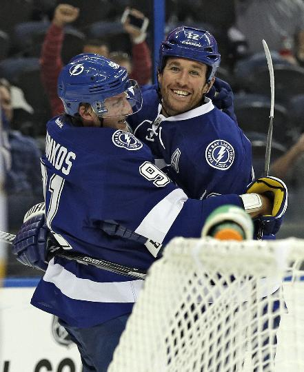 Tampa Bay Lightning center Steven Stamkos (91) celebrates with teammate left wing Ryan Malone (12) after scoring against the Nashville Predators during the second period of an NHL preseason hockey game, Thursday, Sept. 19, 2013, in Tampa, Fla