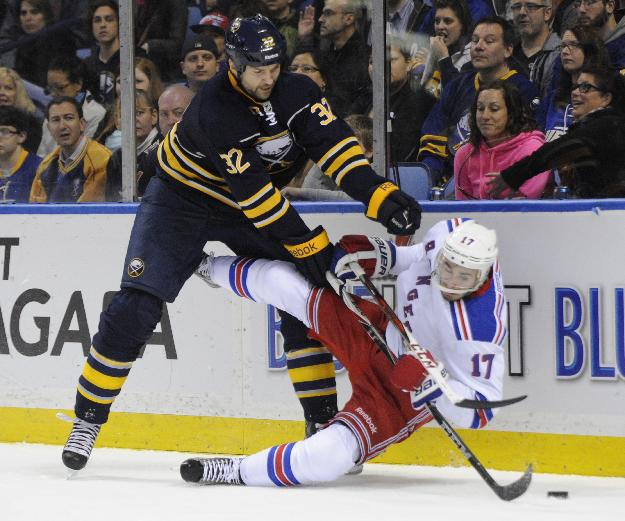Buffalo Sabres' John Scott (32) finishes a check on New York Rangers' John Moore (17) during the first period of an NHL hockey game in Buffalo, N.Y., Friday, April 19, 2013