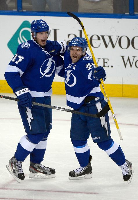 Tampa Bay Lightning right wing Martin St. Louis (26) and center Alex Killorn (17) celebrate after St. Louis scored during the third period of an NHL hockey game against the Buffalo Sabres in Tampa, Fla., Saturday, Oct. 26, 2013. The Lightning won 3-2