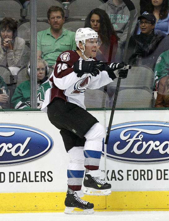 Colorado Avalanche center Paul Stastny celebrates his goal against the Dallas Stars in the first period of an NHL hockey game, Friday, Nov. 1, 2013, in Dallas