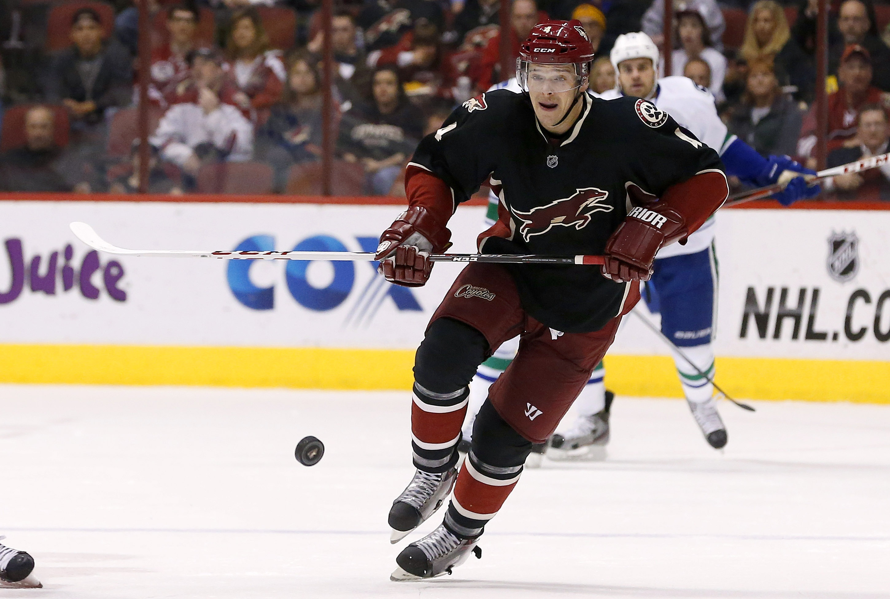 Phoenix Coyotes' Zbynek Michalek, of the Czech Republic, plays in his 600th career NHL hockey game during the first period against the Vancouver Canucks on Tuesday, Nov. 5, 2013, in Glendale, Ariz