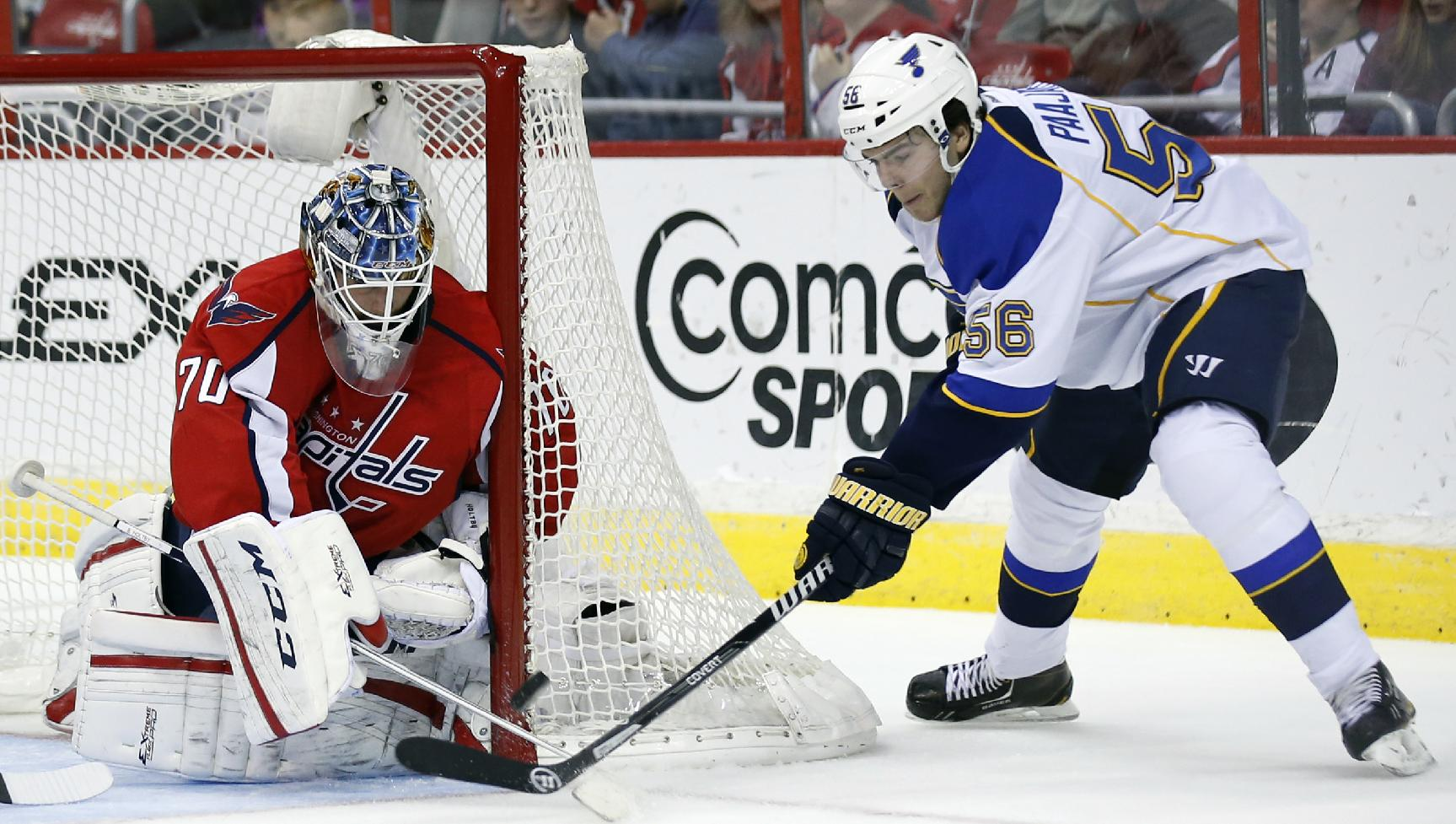 St. Louis Blues left wing Magnus Paajarvi (56), from Sweden, has his shot blocked by Washington Capitals goalie Braden Holtby (70) in the second period of an NHL hockey game, Sunday, Nov. 17, 2013, in Washington
