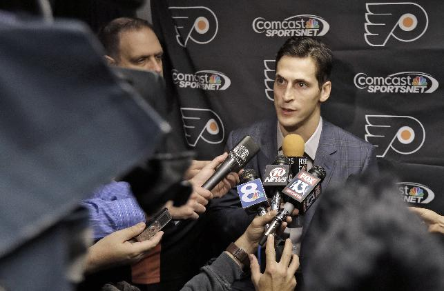 Philadelphia Flyers center Vincent Lecavalier answers a question during a news conference Tuesday, Nov. 26, 2013, in Tampa, Fla. Lecavalier played for the Tampa Bay Lightning for 14 seasons.  Lecavalier is playing in his first game in Tampa since leaving the team.  He signed with the Flyers when the Lightning bought out his contract during the off-season