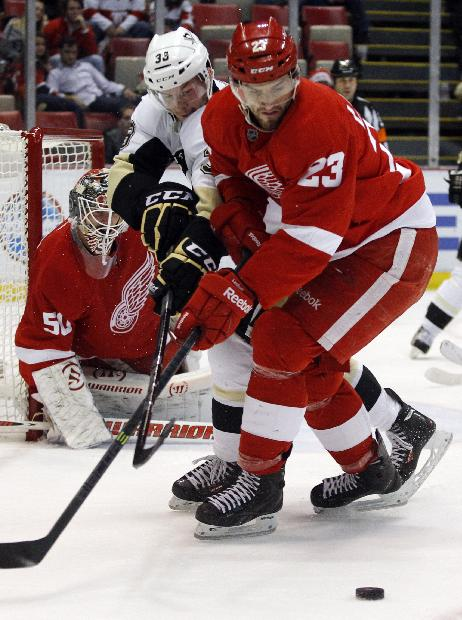 Pittsburgh Penguins' Zach Sill (38) tries to keep Detroit Red Wings' Brian Lashoff (23) off of the puck during the third period of an NHL hockey game on Saturday, Dec. 14, 2013, in Detroit. The Penguins defeated the Red Wongs 4-1