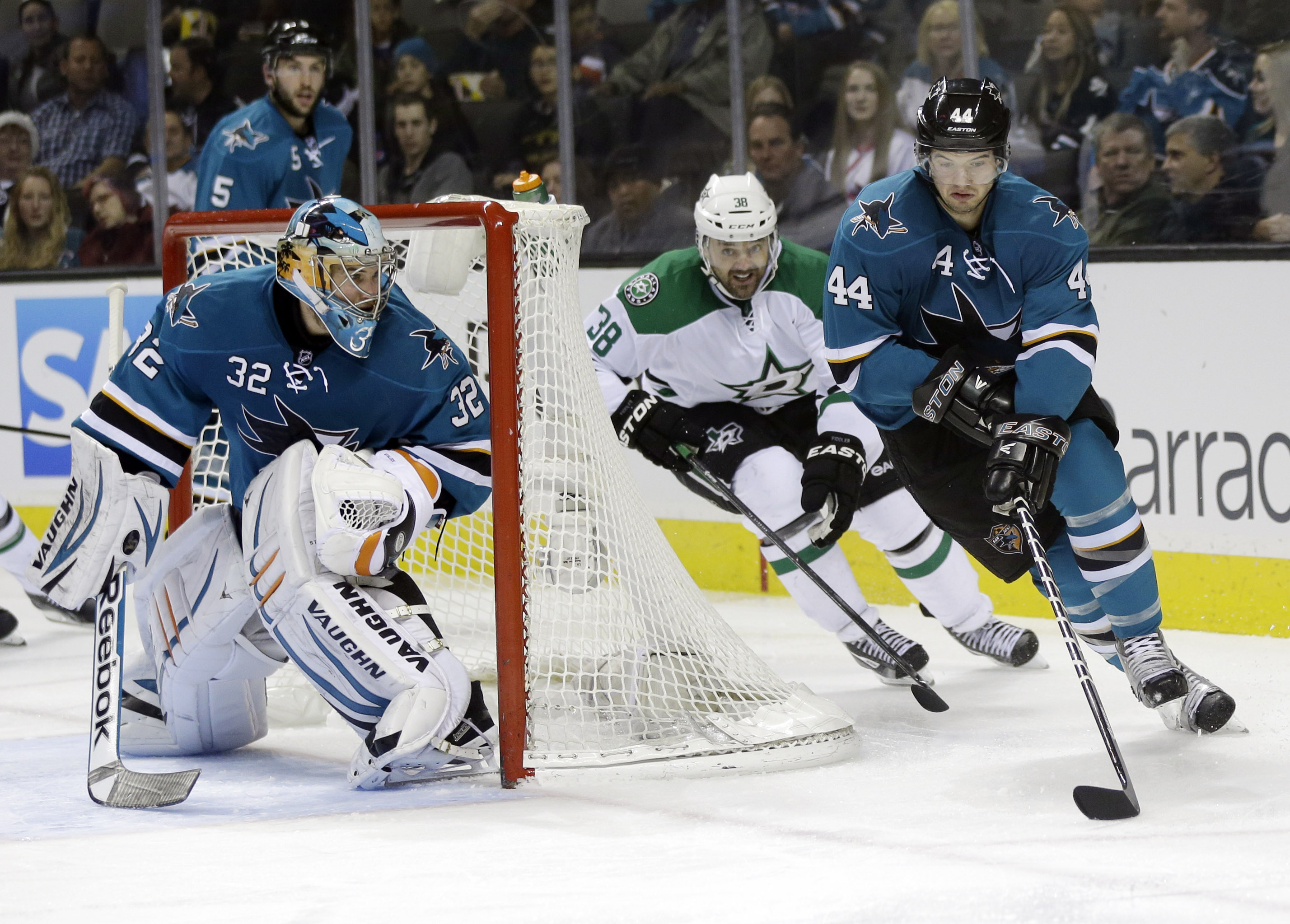 San Jose Sharks' Marc-Edouard Vlasic (44) is chased by Dallas Stars' Vernon Fiddler (38) during the second period of an NHL hockey game on Saturday, Dec. 21, 2013, in San Jose, Calif