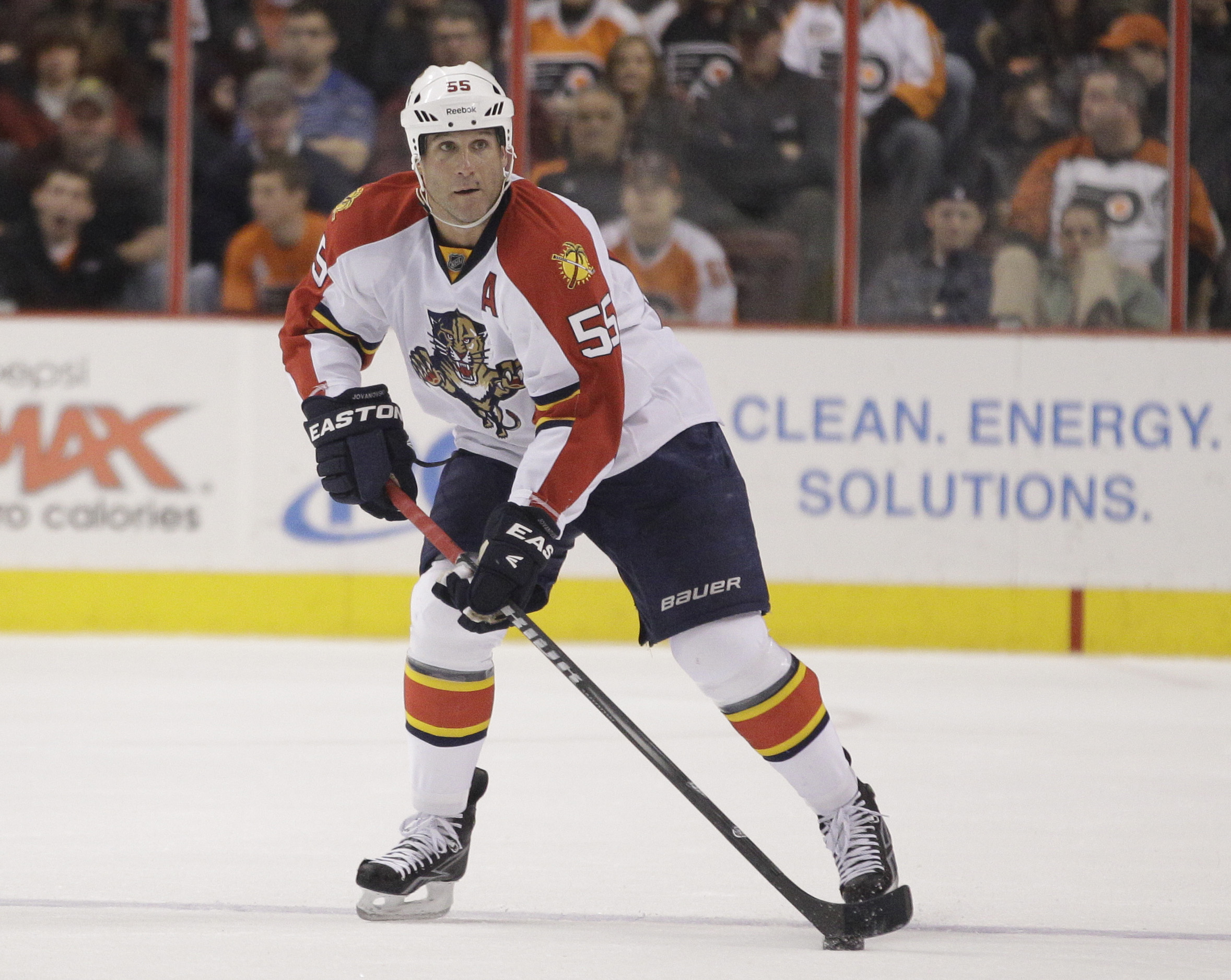 In this March 8, 2012 file photo, Florida Panthers' Ed Jovanovski handles the puck during an NHL hockey game against the Philadelphia Flyers, in Philadelphia. The Florida Panthers have activated defenseman and captain Jovanovski from injured reserve and say he'll make his season debut Saturday, Jan. 4, 2014, against Nashville