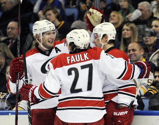 Carolina Hurricanes'  Jordan Staal, left, and Justin Faulk (27) celebrate a goal by Alexander Semin, right, during the second period of an NHL hockey game against the Buffalo Sabres in Buffalo, N.Y., Thursday, Jan. 23, 2014. Carolina won 5-3