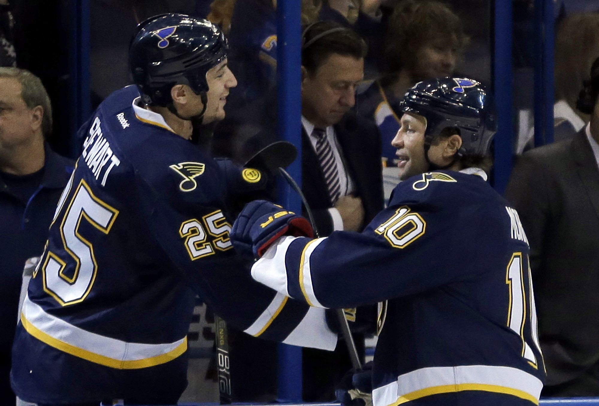St. Louis Blues' Brenden Morrow, right, is congratulated by Chris Stewart after scoring during the first period of an NHL hockey game against the Winnipeg Jets Saturday, Feb. 8, 2014, in St. Louis