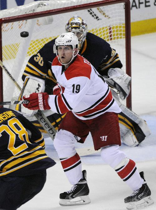 Carolina Hurricanes left winger Jiri Tlusty (19), of the Czech Republic, eyes the puck in front of the Buffalo Sabres goal crease  during the third period of an NHL hockey game in Buffalo, N.Y., Tuesday, Feb. 25, 2014. Buffalo won 3-2