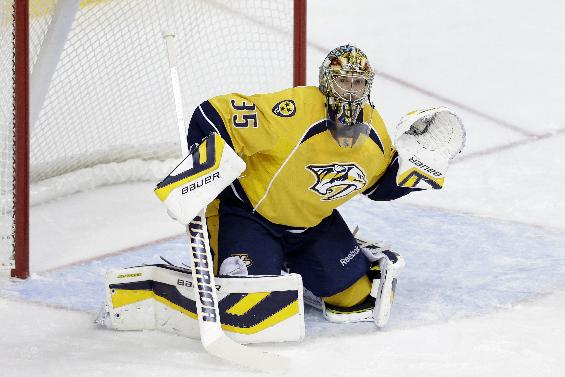 Nashville Predators goalie Pekka Rinne, of Finland, plays against the Los Angeles Kings in the first period of an NHL hockey game on Thursday, Oct. 17, 2013, in Nashville, Tenn