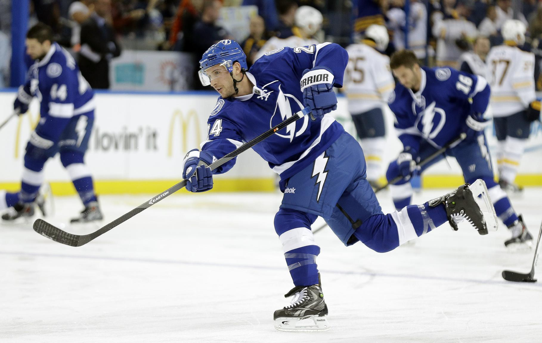 New Tampa Bay Lightning right winger Ryan Callahan (24) skates during warm ups before an NHL hockey game Thursday, March 6, 2014, in Tampa, Fla. Callahan was acquired in a trade with the New York Rangers for Martin St. Louis