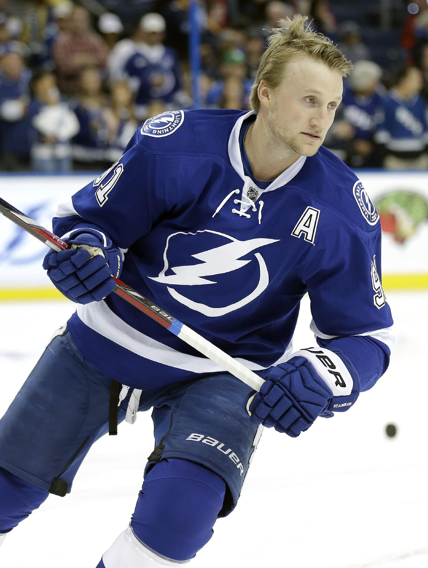 Tampa Bay Lightning center Steven Stamkos (91) skates during warm ups before an NHL hockey game Thursday, March 6, 2014, in Tampa, Fla. Stamkos will be playing his first game since breaking his right tibia on Nov. 11, 2013 in Boston
