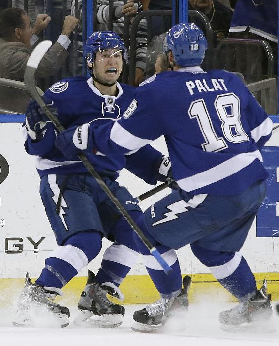 Tampa Bay Lightning center Tyler Johnson celebrates with left wing Ondrej Palat (18), of the Czech Republic, after scoring against the Montreal Canadiens during the third period of an NHL hockey game Tuesday, April 1, 2014, in Tampa, Fla. The Lightning won 3-1
