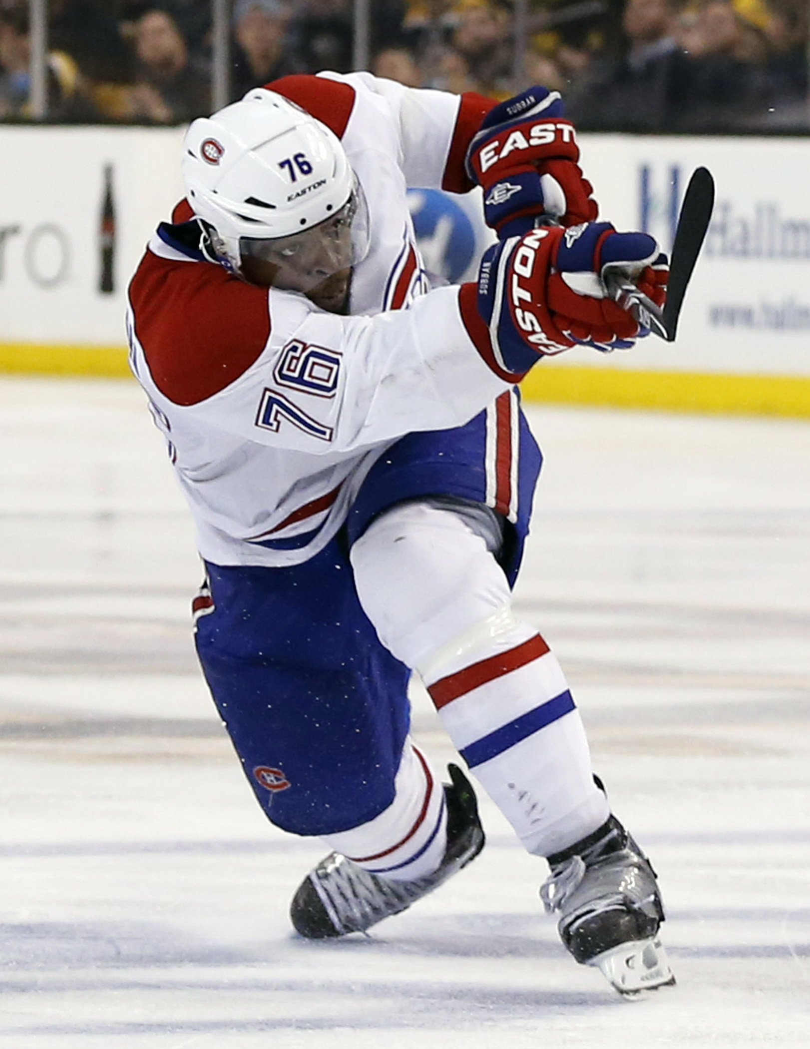 Montreal Canadiens' P.K. Subban follows through on his game-winning goal in the second overtime period against the Boston Bruins in Game 1 of an NHL hockey second-round playoff series in Boston, Thursday, May 1, 2014. The Canadiens won 4-3