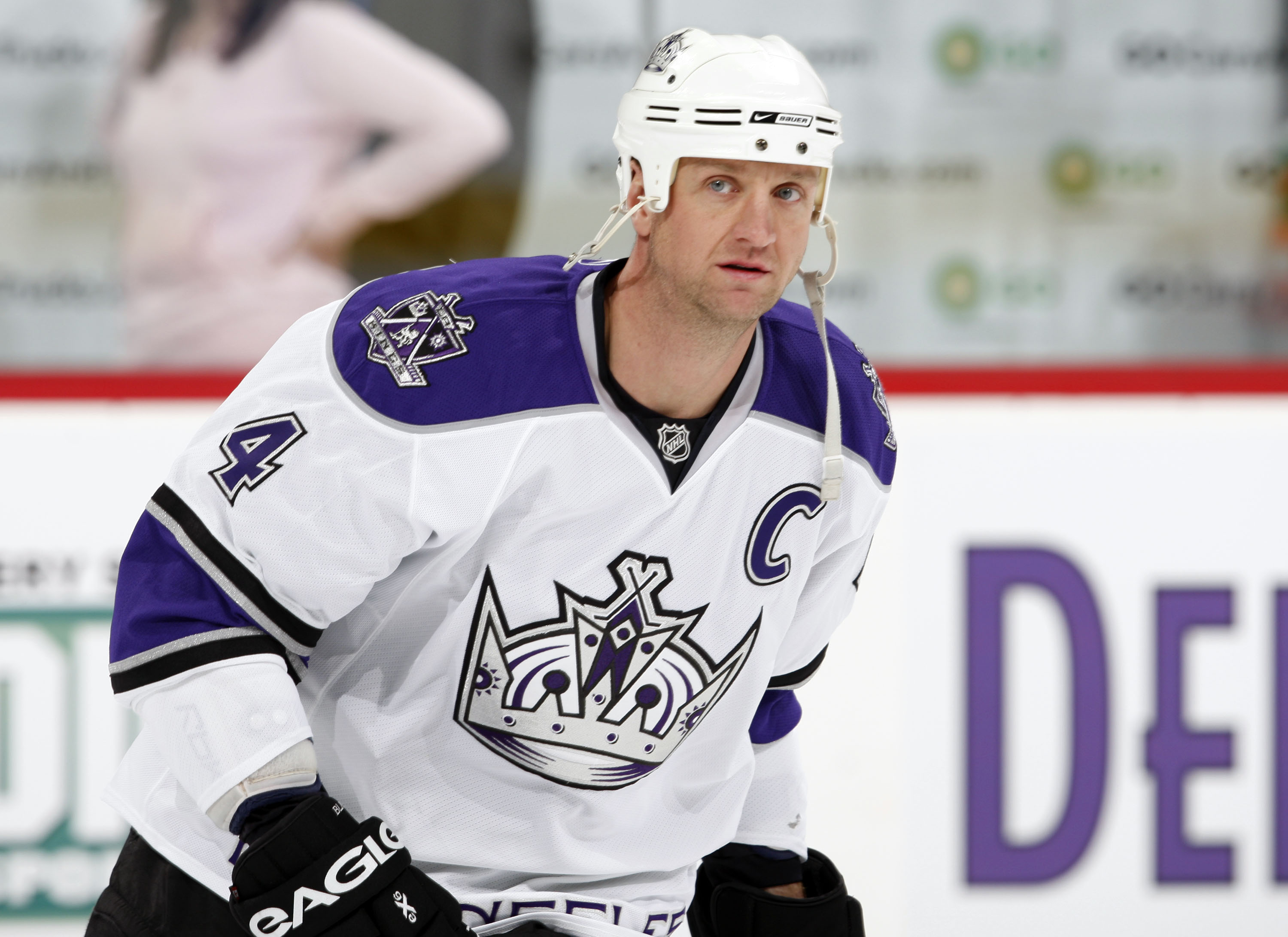 Los Angeles Kings defenseman Rob Blake warms up before facing the Colorado Avalanche in the first period of an NHL hockey game in Denver on Saturday, March 1, 2008