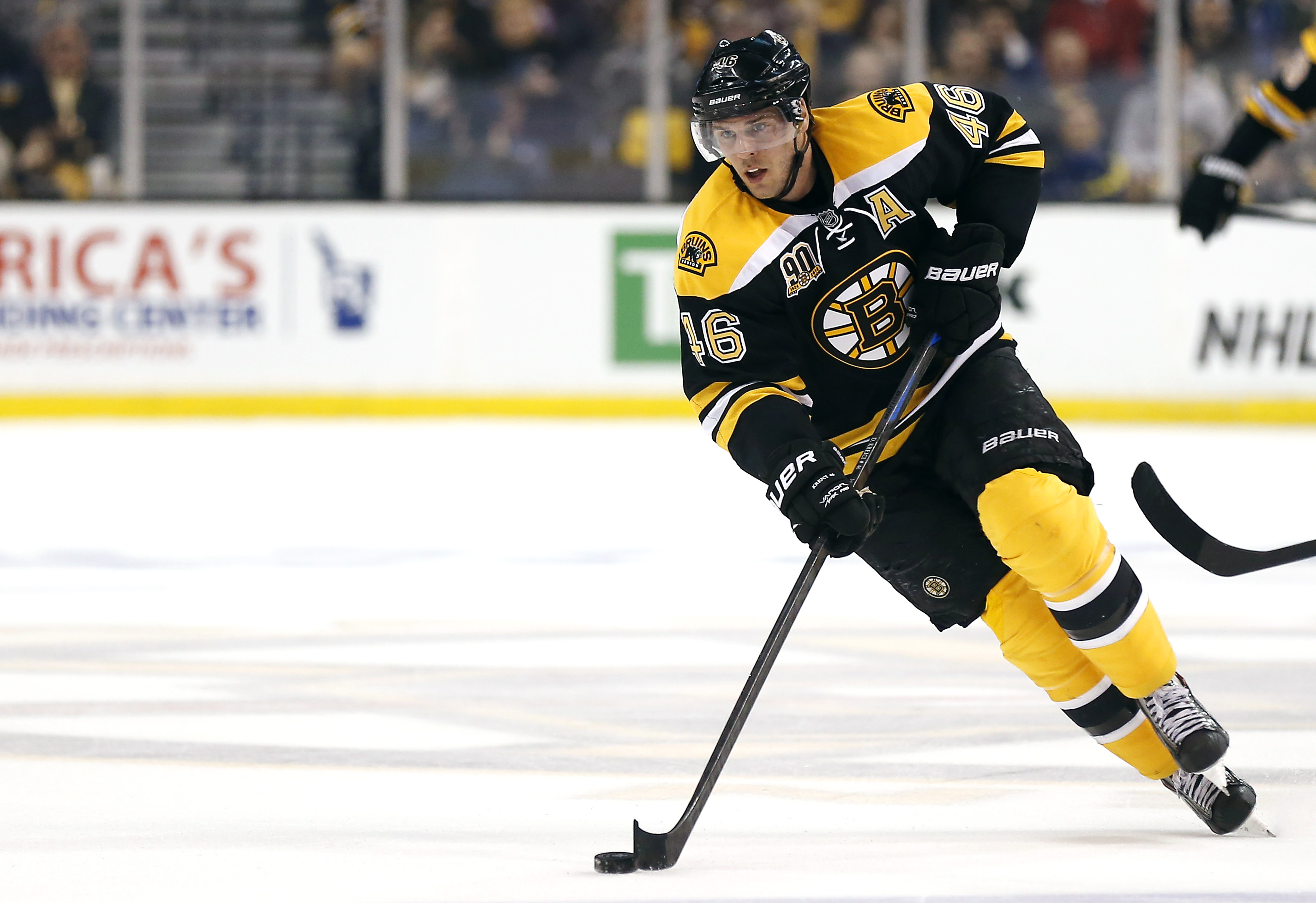 Boston Bruins' David Krejci skates against the Detroit Red Wings during the second period of a first-round NHL playoff hockey game in Boston Friday, April 18, 2014