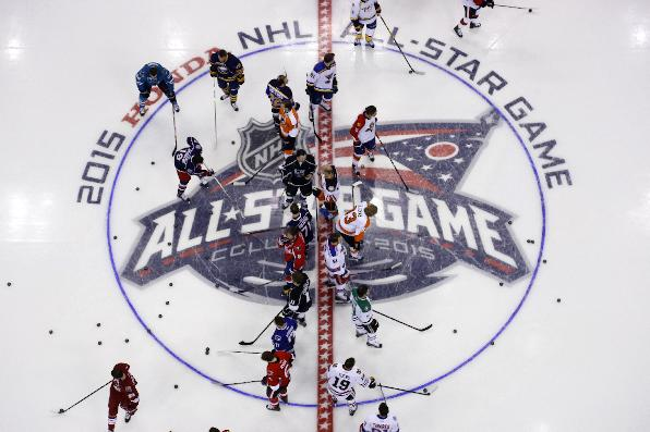 Team Toews, right, and Tean Foligno, warm up before the NHL All-Star hockey skills competition in Columbus, Ohio, Saturday, Jan. 24, 2015. Team Foligno won the competition