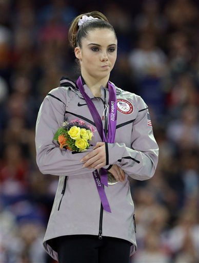 McKayla Maroney reacts to winning silver in the vault competition at the 2012 Summer Olympics. (AP)