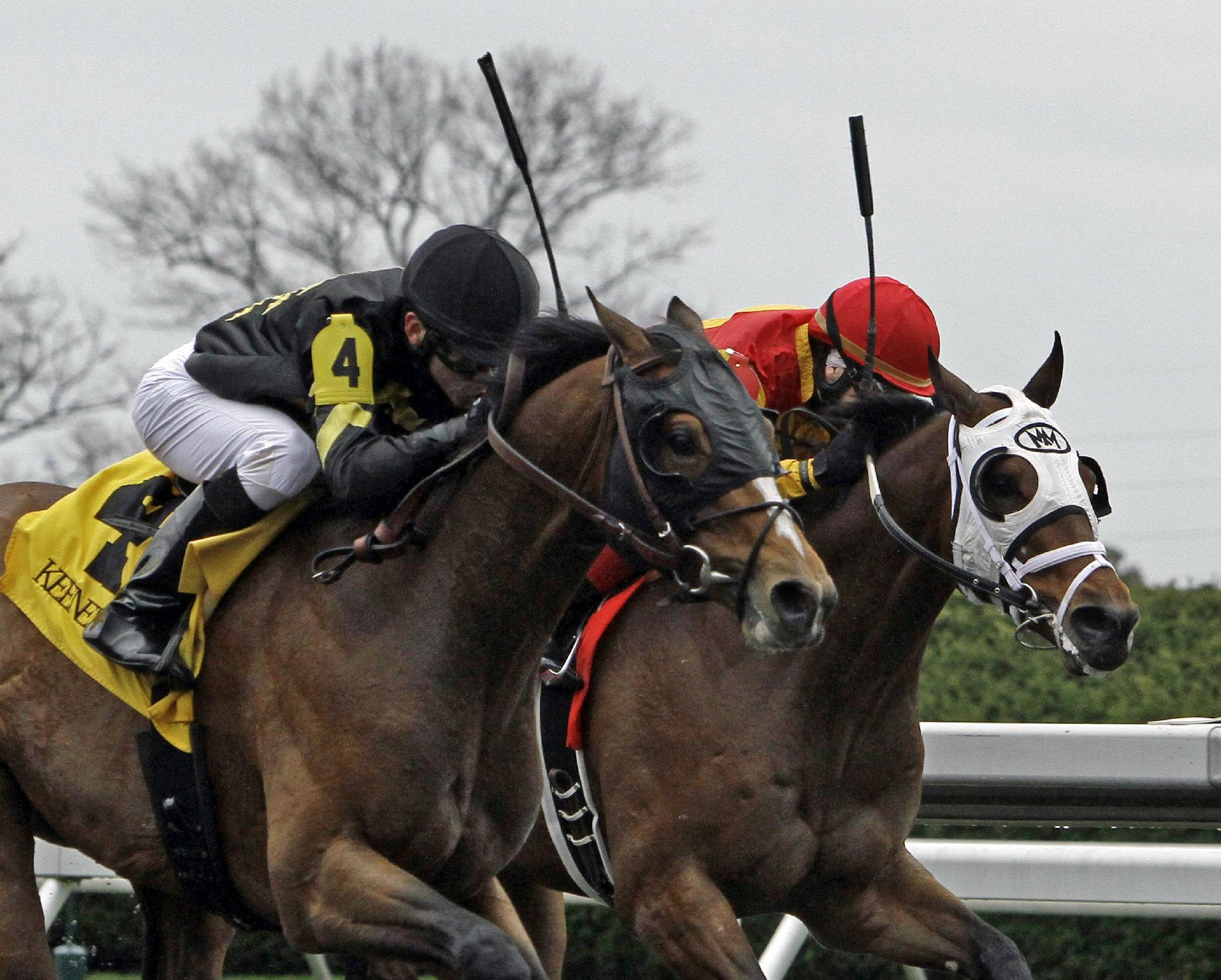 English Council, left, under jockey Marcelino Pedroza, beats Cantonic, right, ridden by Rosie Napravnik to win the first horse race on opening day at Keeneland in Lexington, Ky., Friday, April 4, 2014