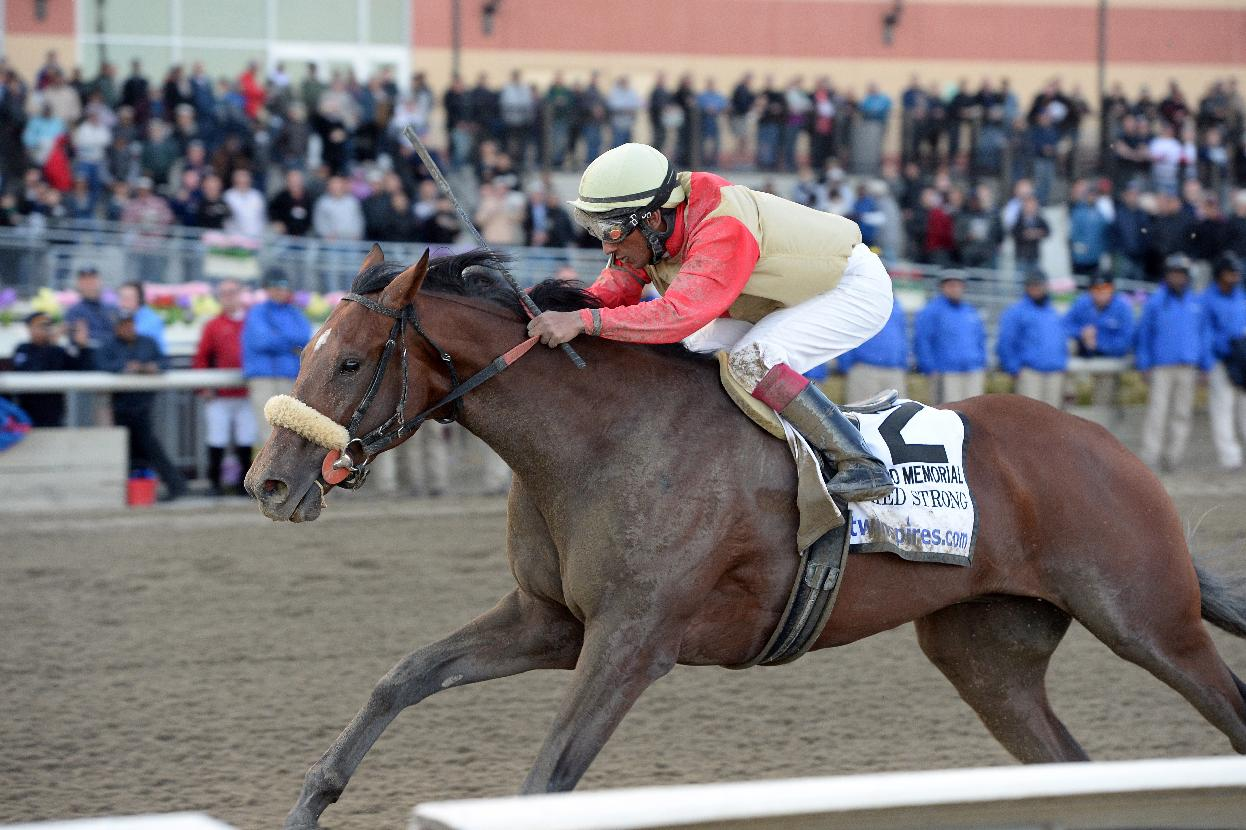 In this photo provided by the New York Racing Association, Wicked Strong, with Rajiv Maragh aboard, captures The Wood Memorial Stakes horse race at Aqueduct Race Track in New York, Saturday, April 5, 2014