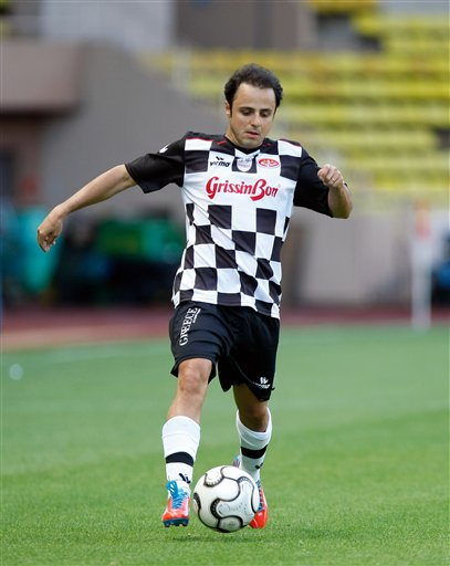 Felipe Massa of Formula One Drivers team in action, during a charity soccer match against  Star Team for the Children, at the Louis ll stadium, in Monaco, Tuesday, May 21, 2013. The match was set up to raise funds for the