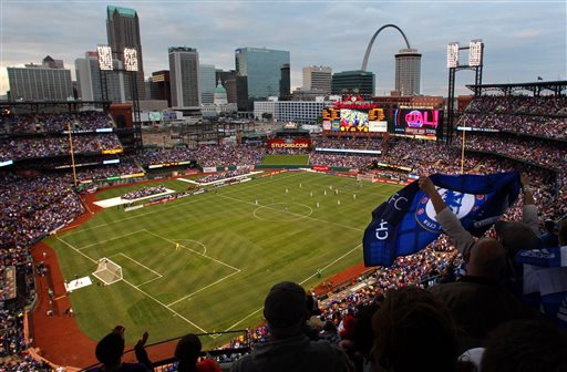 Soccer fans fill Busch Stadium during an exhibition soccer match between Chelsea and Manchester City Thursday, May 23, 2013, in St. Louis. Manchester City won 4-3