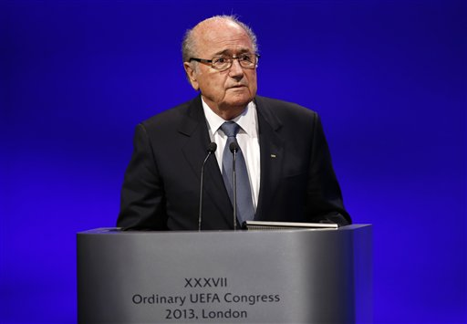 FIFA President Joseph S. Blatter addresses the delegates during the 37th Ordinary UEFA Congress in London, Friday, May 24, 2013