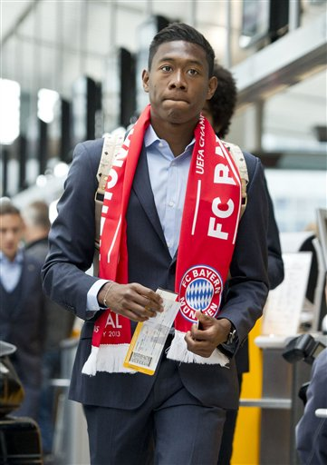 Munichs  soccer player  David Alaba  on his way to board a plane to London at the  airport  in Munich, Germany Friday May 24, 2013. Bayern  Munich will play against  German rival Borussia Dortmund in a UEFA Champions League final on Saturday in London