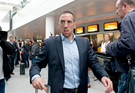 Munichs  soccer player  Franck Ribery   on his way to board a plane to London at the  airport  in Munich, Germany Friday May 24, 2013. Bayern  Munich will play against  German rival Borussia Dortmund in a UEFA Champions League final on Saturday in London