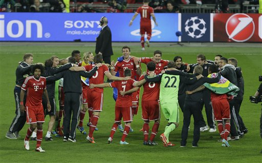 Bayern players celebrate winning the Champions League Final soccer match between  Borussia Dortmund and Bayern Munich at Wembley Stadium in London, Saturday May 25, 2013