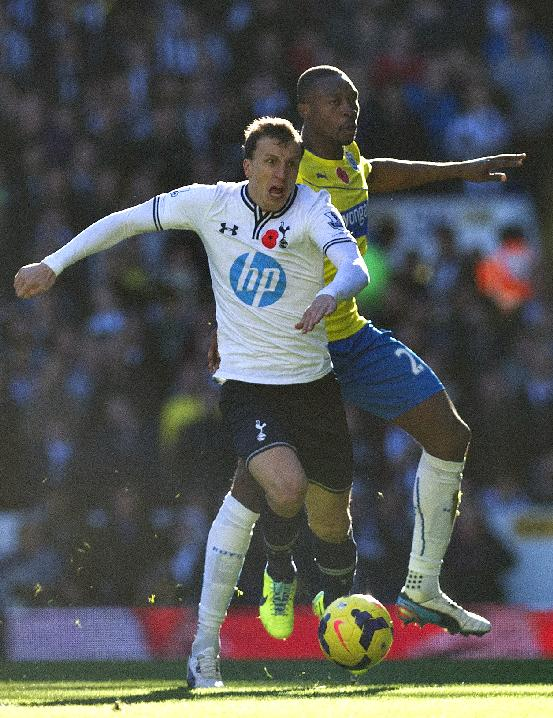 Tottenham Hotspur's Vlad Chiriches, left, and Newcastle United's Shola Ameobi battle for the ball during their English Premier League soccer match at the White Hart Lane stadium in London, Sunday Nov. 10, 2013