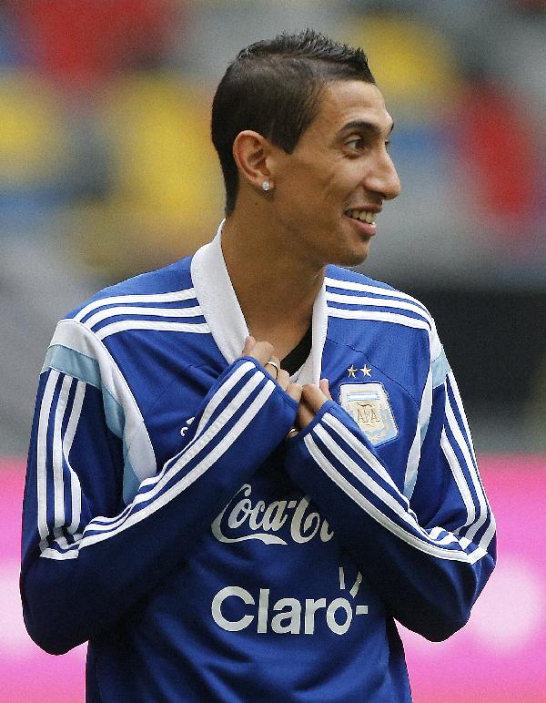 Argentina's Angel Di Maria prepares for a training session ahead of the friendly soccer match between Germany and Argentina on Wednesday in Duesseldorf, Germany, Tuesday, Sept. 2, 2014