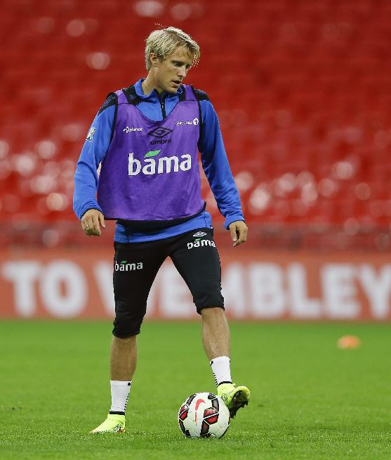 Norway's Per Ciljan Skjelbred controls the ball during a training session at Wembley Stadium in London, Tuesday, Sept. 2, 2014. England will play Norway in an international friendly soccer match at the stadium on Wednesday